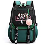 Waterproof and Scratch-Resistant Bookbag, 35L Large Capacity Oxford Backpack School Bag with USB Charging and Headphone Port (Green)