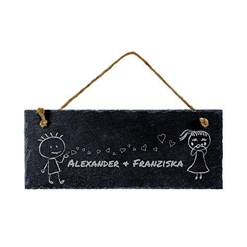 Casa Vivente – Schiefertafel mit Gravur – Personalisiert mit Namen – Farbe: Schwarz – Wanddeko – Türschild zum Aufhängen – Geschenkidee zum Valentinstag und zur Hochzeit – Geschenke für Paare