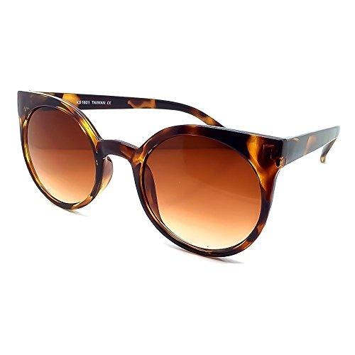 KISS Sonnenbrille mod. GROUND RIHANNA Stil - runde Mode WOMAN Rockabilly Vintage - HAVANA V1