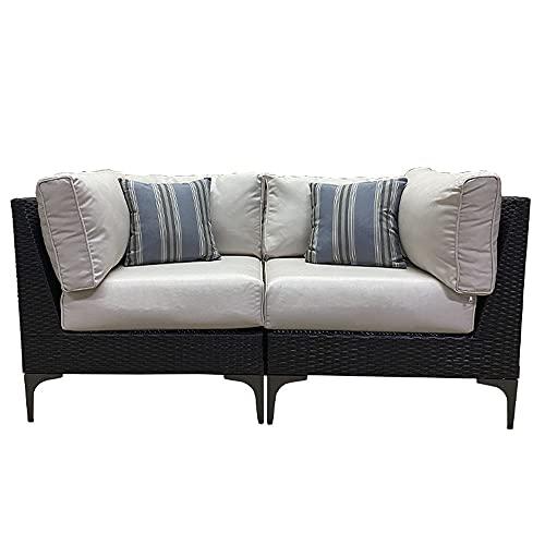 MOMMA HOME Conjunto Muebles de Jardín Ratán | Sofá 2 módulos esquineros | Muebles para terraza/Exterior | Set de Ratán Sintético | Modelo Santo Color Marrón Chocolate