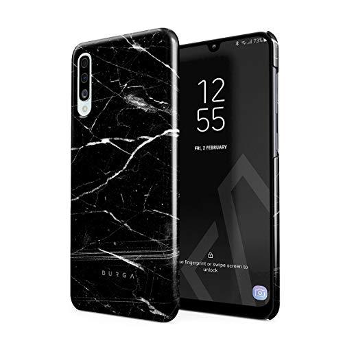 BURGA Hülle Kompatibel mit Samsung Galaxy A50 - Handy Huelle Schwarz Marmor Muster Black Marble Mädchen Dünn Robuste Rückschale aus Kunststoff Handyhülle Schutz Hülle Cover