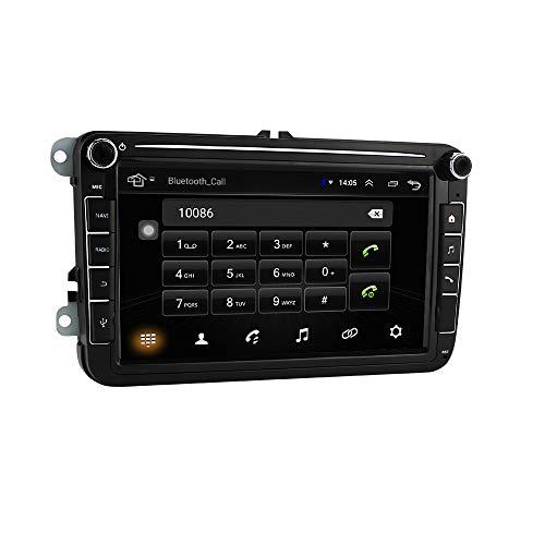 Android 10 de 8 Pulgadas para navegador GPS de Coche Compatible con Skoda Golf Tiguan Touran Seat Polo Passat Soporte Bluetooth 4.0 USB Play Store Volante RCA Mirrorlink Plug and Play