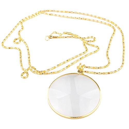 Futheda - Collar con colgante de lupa, 42 mm de diámetro, 5 aumentos, de bolsillo, portátil, lupa de lectura para libros, manualidades, joyas, hobbies (dorado)