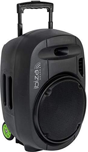 """PORT15VHF-MKII - Ibiza - TRAGBARE, AKKUBETRIEBENE BESCHALLUNGSANLAGE 15"""" / 800W MIT USB-MP3, Rec, VOX, Bluetooth & 2 UHF FUNKMIKROFONEN, Schwarz"""