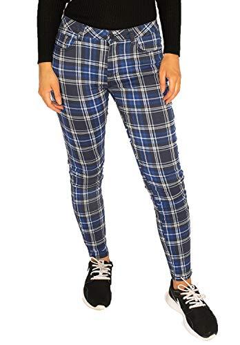 Pantalones Cuadros Estilo Slim para Mujer Pantalón de Tartán Pitillo - Azul, Negro y Blanco - 34