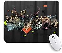 KAPANOU マウスパッド、鹿猿ウサギ虎オオカミクマ おしゃれ 耐久性が良い 滑り止めゴム底 ゲーミングなど適用 マウス 用ノートブックコンピュータマウスマット