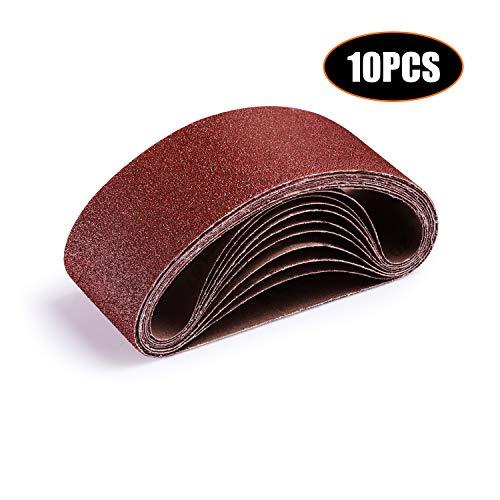 TACKLIFE 3x18-Inch Sanding Belt, 10Pack (2 Each of 40, 60, 80, 100, 120 Grits) Aluminum Oxide Belt for Belt Sander, Woodworking, Metal Polishing ASB01A