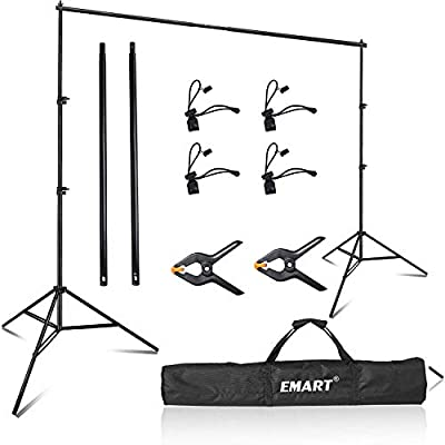 Emart Photo Video Studio 8 x 8 ft Backdrop Stand, Adjustable Photography Muslin Background Support System Kit with Carry Bag