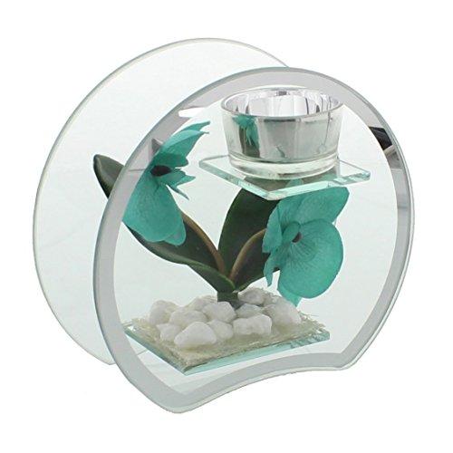 Hestia 15cm Glass & Mirror Tea light Holder Aqua/turchese forma rotonda