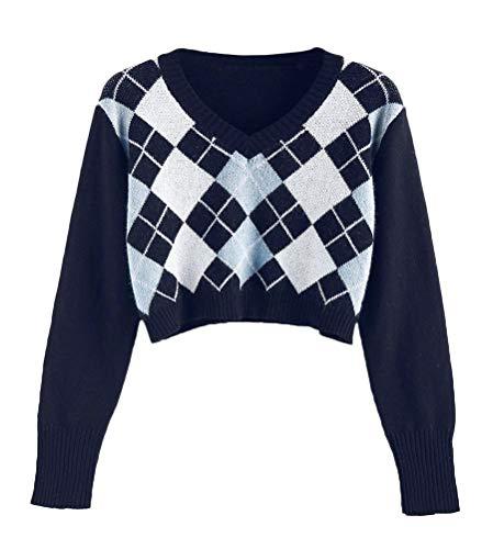 Onsoyours Damen Argyle V Ausschnitt Crop Pullover Vintage Herbst Ästhetik 90er Jahre Preppy Winter Strickpullover Strickwaren 01 Schwarz XS