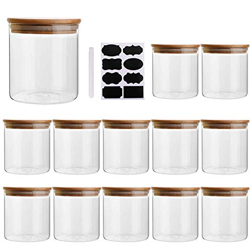 8oz/250ml Clear Glass Food Storage Containers Set Airtight Food Jars with Bamboo Wooden Lids Kitchen Canisters For Sugar, Candy, Cookie, Rice and Spice Jars - Set of 12