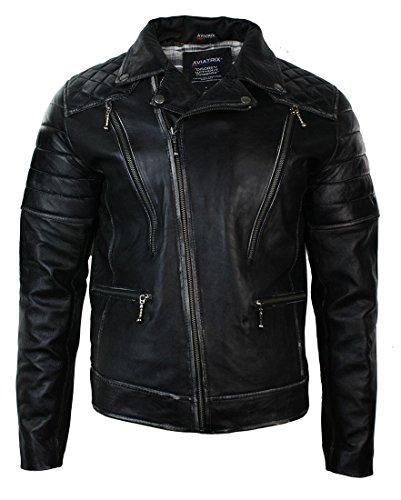Chaqueta Ajustada de Cuero Negro con Cremallera Cruzada para Caballero Estilo Rock Vintage Retro Negro