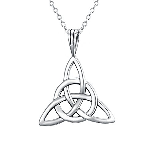 FANZE Women's 925 Sterling Silver Irish Celtic Knot Triquetra Trinity Knot Timeless Geometric Pendant Necklace