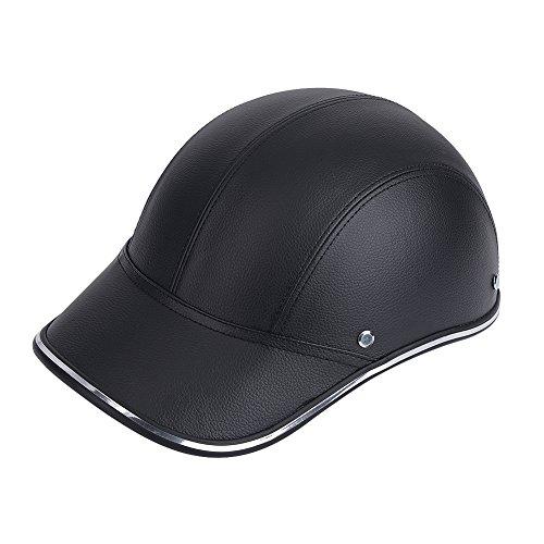 Keenso Motorradhelm halboffenes Gesicht schützen Helm Baseball Cap mit verstellbarem Kopfband(schwarz)