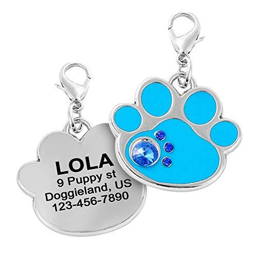 Paw Print Dog Tag, Custom Engraved Bling Pet ID Tags, Cute Dog Tags, Sparkling paw Print Shape Dog ID tag, Silent Tags, Glitter Puppy Id Tag
