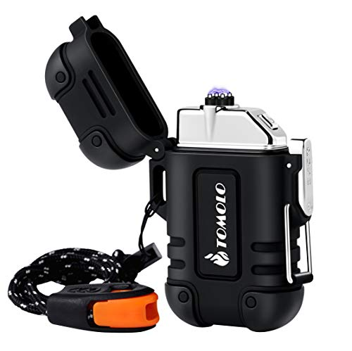TOMOLO Waterproof Lighter Plasma Windproof USB Rechargeable Flameless Dual Electric Arc Lighter with Lanyard Emergency Whistle Survival Gear for Outdoor Camping Survival (Black)