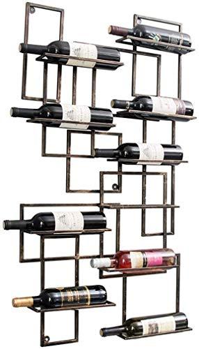 HYY-YY - Portabidones de pared para botellas de vino (108 cm, metal de hierro, para 10 botellas, bronce para el hogar