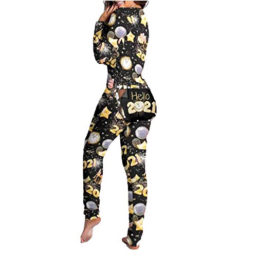 Combinaison Pyjama Sexy pour Femme - Lady Pyjama Suit Back Butt Bum Open Ass Loungewear, Combinaison Sexy à col en V Profond à Manches Longues pour Femmes (2021 Nouvel an, L)