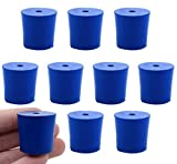 10PK Neoprene Stoppers, 1 Hole - ASTM - Size: #5-23mm Bottom, 27mm Top, 25mm Length - Suitable for use with Petroleum, Oils & Most Inorganic Acids and Bases - Eisco Labs