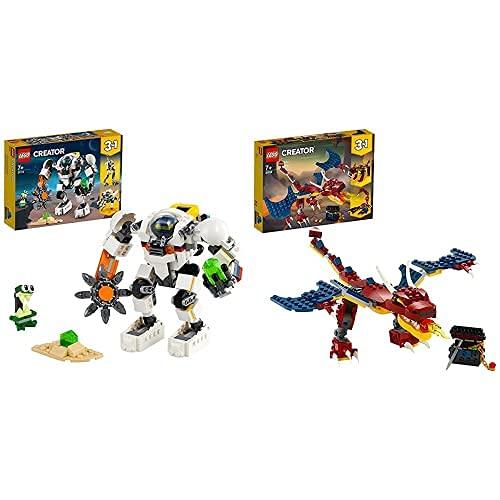 LEGO 31115Creator3En1MecaMineroEspacialRobotCargadorCuadrúpedoJugueteDeConstrucción+31102CreatorDragónLlameanteSetDeConstrucción3En1DientesDeSableOEscorpión