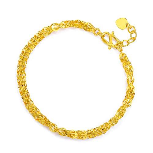 HXUJ 24K Oro Puro Pulsera Brazalete de Oro Real 999 Sólido Fila Doble de la Manera del corazón Brillante de Moda clásico de joyería Fina