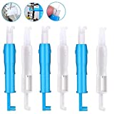 6 Pieces Sewing Machine Needle Inserter, Automatic Needle Threader Needle Threading Tool for Sewing Machine (3 Blue + 3 White)