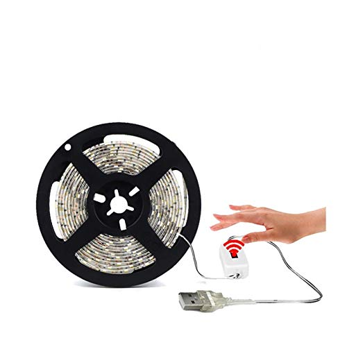 DZHT DC 5V Luz USB Deportes LED Retroiluminación LED TV Cocina Barra De Luz LED Barrido De Mano Interruptor De Giro Apagado Sensor Diodo Luz Impermeable (Color : White Hand sweep)