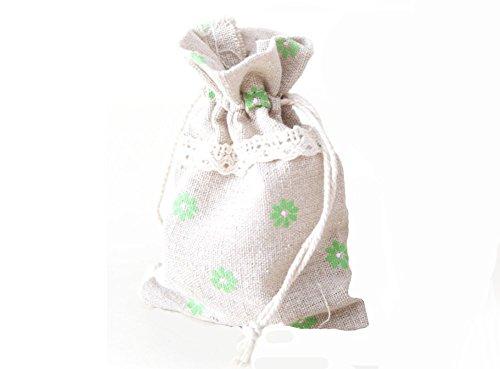 Demarkt Leinensäckchen Natur Retro Leinwand Stoffbeutel Sack Kordelzug Taschen für Schmuck Lavendelblüten Geschenke Taschen Grün