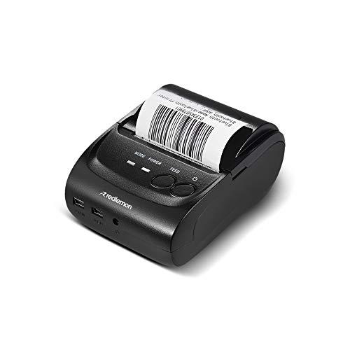 Redlemon Impresora Térmica Portátil Mini con Conexión Bluetooth Inalámbrica, para Tickets y Recibos POS PDV, Tamaño de Papel 58mm, Compatible con Windows, iOS y Android