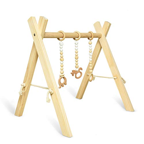Rocinha Wooden Baby Gym with 3 Wooden Baby Teething Toys Foldable Baby Play Gym Frame Baby Wood Activity Gym Hanging Bar Baby Shower Gift Newborn Gift - Natural Color