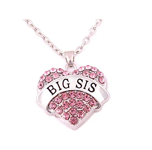 Charm.L Grace Matching Necklaces Pink Crystal Heart Necklace Big Sis Sister