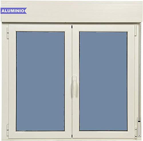 Ventana Aluminio Practicable Oscilobatiente Con Persiana PVC 1200 ancho x 1155 alto 2 hojas