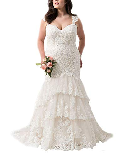 HUINI Damen Brautkleider Schultergurt V-Ausschnitt Abendkleider Hochzeitskleider Spitze Trompete Armellos Weiß 46