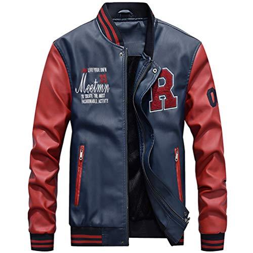 Yonglan Herren Jacke Kunstleder Baseballjacke Slim Fit Modern Freizeit Farben mischen Mantel Saphirblau XL