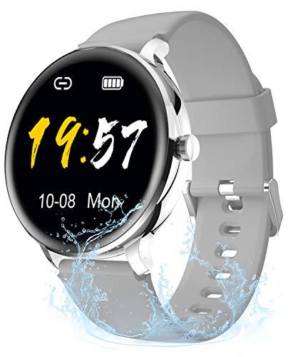Gretel Fitness Tracker Damen Smartwatch Rund Herren Smartwatch Wasserdicht Armbanduhr Mädchen Kompatibel Android Smartwatch iOS mit Pulsuhr, Schrittzähler, Stoppuhr, Sportuhr Silber