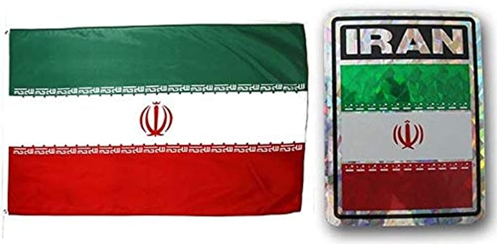ALBATROS Set Iran Country 3 ft x 5 ft 3x5 Flag and 3ftx4ft Decal for Home and Parades, Official Party, All Weather Indoors Outdoors