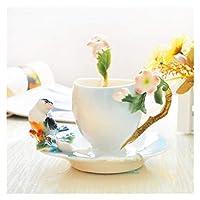 スプーンミルクの朝食カップソーサー3D骨の中国セラミック飲み物の贈り物ベスト恋人の贈り物