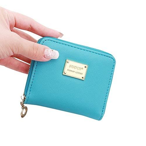 Women's wallet short coin purse fashion wallet woman card holder small wallet female buckle mini clutch girl-Sky Blue