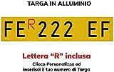 TopQuality Targa Ripetitrice in Alluminio per rimorchi, carrelli appendici con Lettere e Numeri con Caratteri Omologati e R Rossa Inclusa