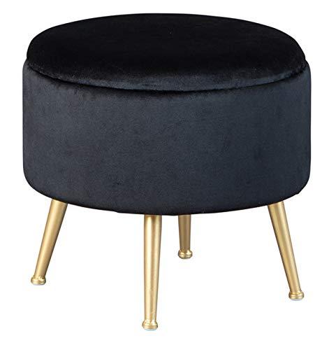 PEGANE Pouf Velours Noir avec Pieds en métal Couleur Or - Dim : 41 x 41 x 38 cm