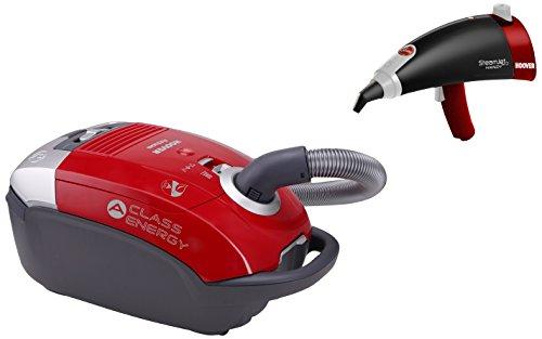 Hoover 39001255 Pack aspirateur Classe énergétique A + Pistolet à Vapeur avec autonomie illimitée, 5 litres, Rouge
