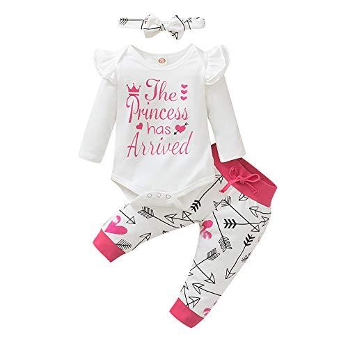 The Princess ha llegado el día de San Valentín conjuntos de trajes de bebé niñas, con volantes de manga larga + ropa de pantalones de corazón 0-24 m