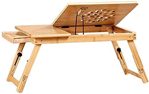 Mesa de bambú con agujeros de refrigeración cama con escritorio para ordenador portátil pequeño escritorio B-l