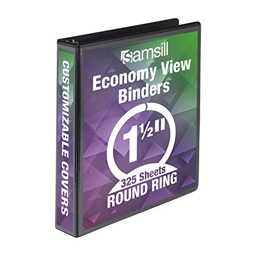 Samsill Economy 3 Ring Presentation View Binder, 1.5 Inch Round Ring – Holds 325 Sheets, Customizable Clear View Cover, Black