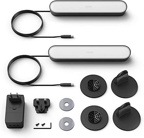 Philips Hue - Barra de luz, Hue Play, Luz blanca y colores, Compatible con Alexa y Google Home, Negro - 2 Unidades