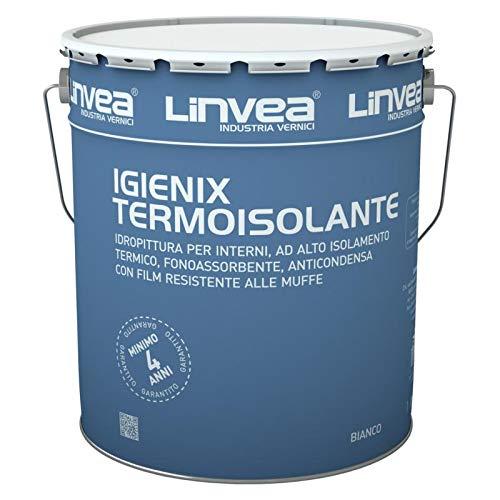 Linvea Igienix Termoisolante Bianco 15 Lt. Idropittura Per Interni Ad Alto Isolamento Termico, Fonoassorbente, Anticondensa, Resistente Alle Muffe