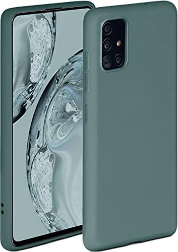 ONEFLOW Soft Hülle kompatibel mit Samsung Galaxy A51 Hülle aus Silikon, erhöhte Kante für Displayschutz, zweilagig, weiche Handyhülle - matt Petrol