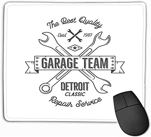 N/A Mouse Pad Garage Service Vintage Ontwerp Detroit Klassieke Reparatie Service Typografie Print Zwarte Stempel Teeshirt Grafische Mousepad 25 * 30Cm