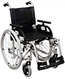 FabaCare Rollstuhl Marlin, Standardrollstuhl faltbar, Steckachse, Transportrollstuhl bis 150 kg, Sitzbreite 44 cm