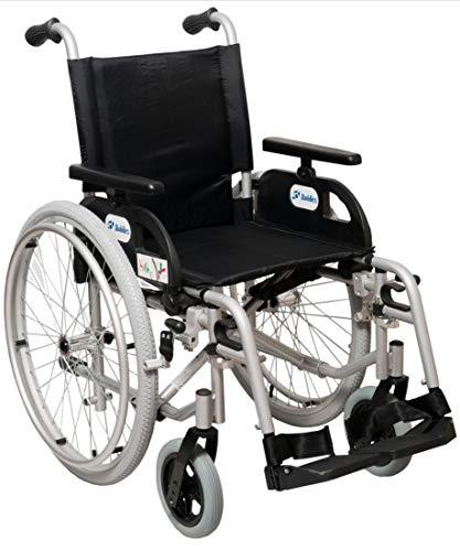 FabaCare Rollstuhl Marlin, Standardrollstuhl faltbar, Steckachse, Transportrollstuhl bis 150 kg, Sitzbreite 48 cm